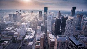 Houston city skyline with a cloudline